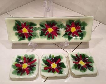 Poinsettia sushi serving set