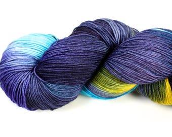 Midsummer Night--hand dyed sock weight yarn, BFL superwash (655yds/150gm)