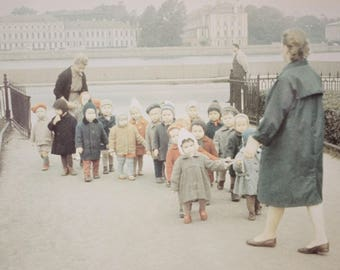 """Leningrad, Russia 1965 Photograph of a Street Scene with Young Children, 7"""" x 9"""", Framed"""
