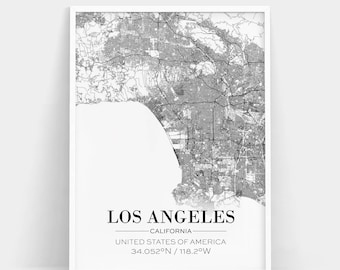 Los Angeles Map Print, Los Angeles City Map, Los Angeles Print, LA Map Print, LA Poster, LA City Map, Live Room Print, Coordinates Poster