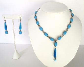 Vintage Jewelry Set  -  Turquoise Glass Necklace & Earrings