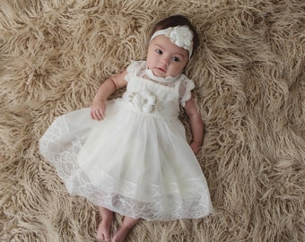 Ivory Baptism Dress, Christening Dress, Baby Lace Dress ,Baptism Gown, Christening Gown, Communion Dress, Blessing Dress, Girls Lace Dress