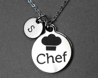 Chef necklace, chef charm, stainless steel necklace, cook gift, cooking, personalized necklace, initial necklace, initial charm, monogram