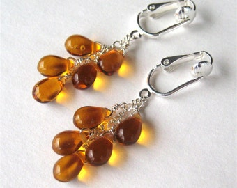 Honey Teardrop Clip On Earrings, Amber Glass Clip Earrings, Silver Clipons, Handmade