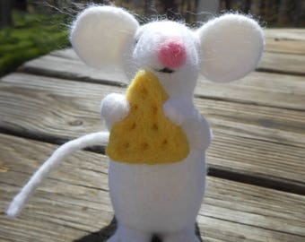White Wool Needle Felted Mouse with Cheese