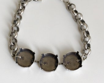 Bracelet Setting 16mm Empty Cup Chain Bracelet Setting, Antique Silver Ox, Bracelet Making, Jewelry Base, 8mm Rolo Chain, Empty Cupchain