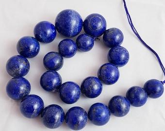"16mm to 24mm blue lapis lazuli round beads 16"""