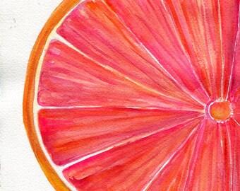 Pamplemousse aquarelle peinture Original, Ruby Red Citrus ART, 7 x 10, décor de la cuisine. aquarelle originale de pamplemousse