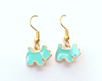 Aqua Blue Dog Earrings in Gold, Scottie Dog, Turquoise, Gold Earrings, Choose Plated, Surgical or Gold Filled Wires, also Pink, White, Black