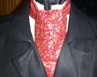 "Ascot or Carvat Dickens Red and Gold Metallic swirls cotton fabric 4"" x 43"" Mens Historial Bow Tie or Wedding Tie or pocket square"