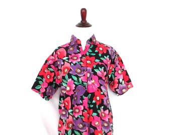 80's Gitano Floral Blouse Vintage 80's Floral Shirt Colorful Flower Shirt Hipster Gitano Clothes 1980's Clothing