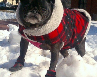 Pug Snuggly's Handcrafted in Maine Red Plaid Winter Hoodie for the Pug Figure, Winter Coat, Winter Jacket
