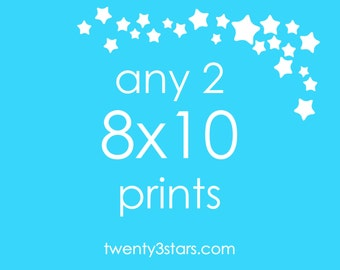 Any 2 Prints 8x10 - Choose Any two twenty3stars Unframed Art Prints, Sports Music Hobbies Personalized Wall Art Posters