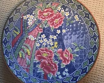 Large Antique Japanese Pottery Asian Multi Color Floral Porcelain Charger Plate