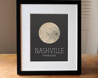 Nashville Tennessee Print - Nashville Print - Nashville Gift - Nashville Map Print - State Print