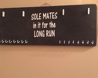 ON SALE race medal holder - running medal hanger - race bib display - gifts for runners - his and hers race medal holder - soul mates medal