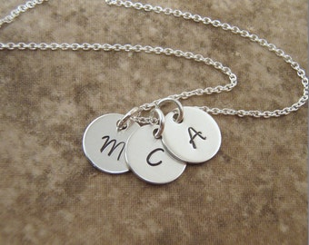 "Initial necklace - Silver disc Kids initials - Mom necklace - 3 initials, 4 initials, 5 initials - Dainty 3/8"" Sterling silver"