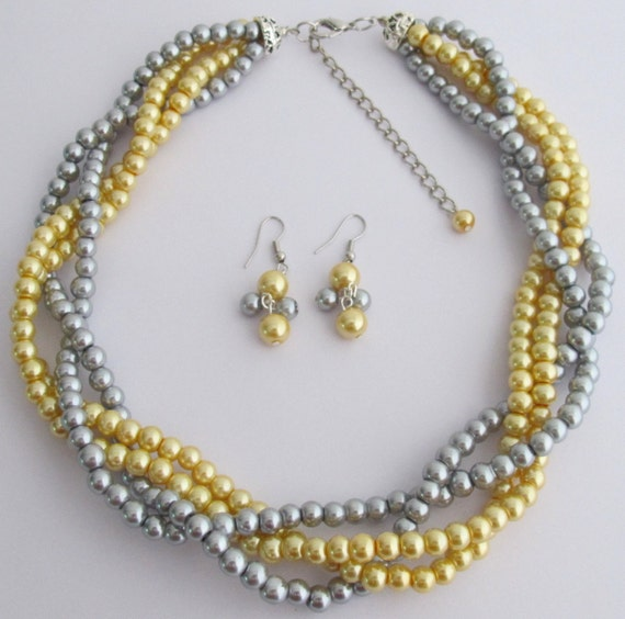 Golden Yellow Gray Pearls Twisted Necklace Earrings Wedding Bridesmaid Necklace Bridal Gift  Free Shipping In US