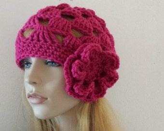 Beanie Flower Hat, Skull Cap Hat, Gift Flower HAT, Cozy CHEMO Beanie Hay, Cap Hat, Beanie Hat, Beanie Cap Hat, Hat w/Big Flower, Flower Hat