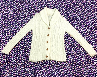 70's winter white cable knit sweater jacket 1970's nubby cozy wrap collared lounge knit natural wooden button up cardigan sweater / size M