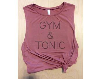 gym & tonic pink workout tank / women's tank / women's workout tank / muscle tee / gym tank / women's running tank / graphic tank