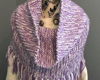 Ladies Wrap, Ladies Shawl, Ladies Cowl, Hand Knit Wrap, Purple Wrap, Fringed Wrap, Winter Wrap, Warm Wrap, Winter Scarf