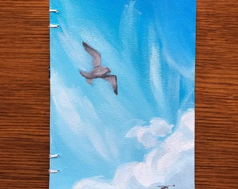 Seagull Ocean Hand Painted Blank Unlined Journal OOAK