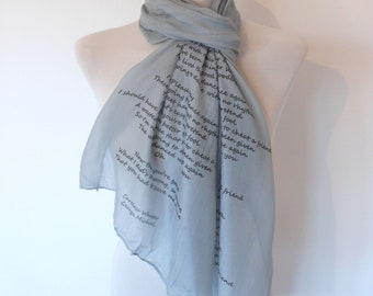 George Michael Scarf. Music lyrics scarf. Grey scarf with 'Careless Whisper' print. Poetry scarf.