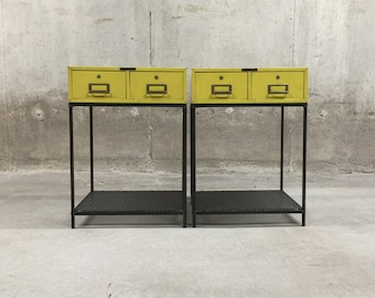 Vintage Industrial Side Tables- Matching Pair