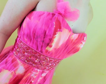 1990's, HOT PINK, Strapless, Prom Gown, Formal Evening Dress, Bridal, Tulle, By DEB