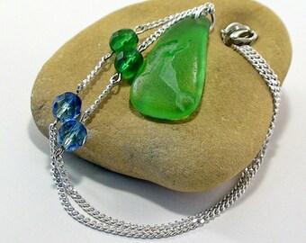 Mermaid Necklace Green Sea Glass Necklace Beach Wedding Beach Jewelry Sea Glass Jewelry