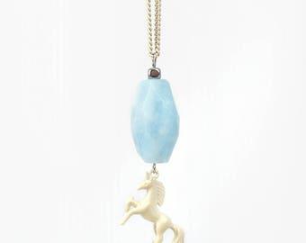 Horse Necklace with Light Blue Aquamarine Gemstone Pendant, Unique Gift for Horse Lover