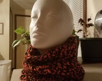 Orange and black crocheted cowl