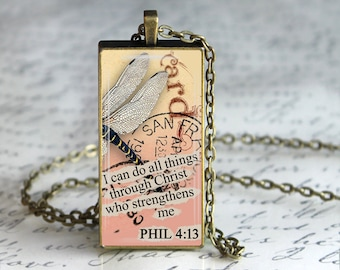 Spiritual Jewelry Inspired Jewelry Healing Bible Verse Necklace I can do all things through Christ Phil 4:13 Quote Pendant
