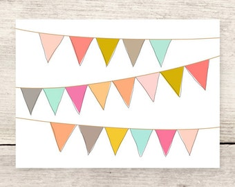 Pennant Banners card, Flags Birthday card, Celebrate greeting card