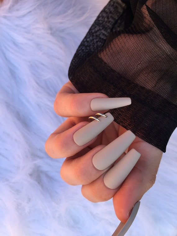 Matte Nude Pierced Nails set of 24 long coffin nails