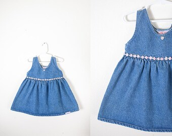 Denim Dress, Babydoll Dress, Baby Dress, Toddler Dress, Girls Dress, Baby Girl Clothing, Retro Baby Clothes, 90s Grunge Blue Jean Dress