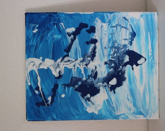 Abstract painting in acrylic paint in shades of blue