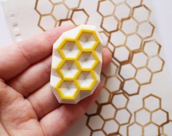 geometric stamp | hexagon pattern stamp | honeycomb stamp | birthday christmas card making | diy art journal | hand carved by talktothesun