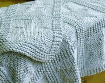 Easy baby blanket knitting pattern / Star pattern blanket / Chunky baby blanket / Beginner baby blanket / Baby shower gift / Layette gift