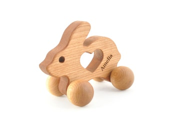 Personalized Wooden Bunny Toy - Waldorf Wood Animal Toy - Rabbit Push Toy for Babies and Toddlers - Montessori Eco-Friendly Play