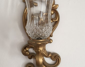Pair HOMCO Home Interiors Vintage Antique Gold Wall Sconces With Votive Cups