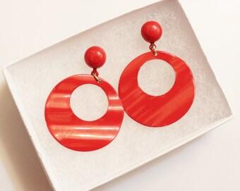 Retro Red Earrings, Enemal Earrings, Gifts Under 15