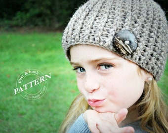 CROCHET PATTERN - Crochet Ribbed Beanie Pattern, Beanie Crochet Pattern, Hat Crochet Pattern, Button (Toddler, Child, Adult Sizes) pdf #006H