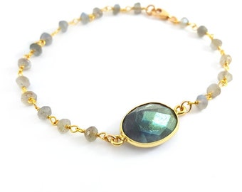 Labradorite Gemstone Bracelet - 14k Gold Filled Bracelet - Stacking Bracelet - Dainty Bracelet - Gold Filled Jewelry - Gift For Her