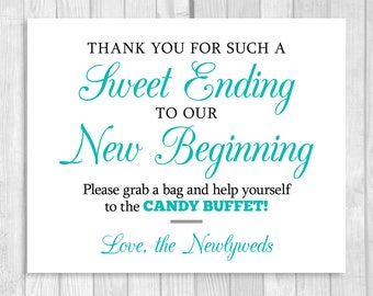 SALE Sweet Ending to Our New Beginning 8x10 Printable Black and Pool Blue Wedding Candy Buffet Sign - Instant Digital Download