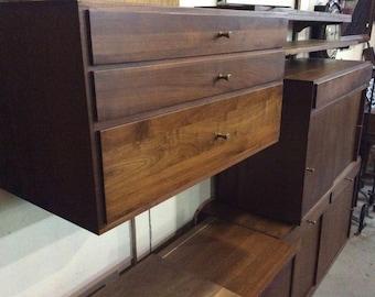 MCM Walnut Danish Modern Cado Wall Unit System Shelves and Cabinets
