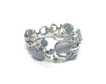 Signed SELRO Bracelet, Vintage 1950s Faux Moonstones and AB Rhinestones Bracelet, Costume Jewelry