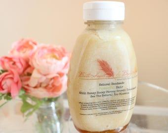 Powerful Hair Treatment - Honey - Dry Hair Oil - Deep Conditioner- Shea Butter - Growing Hair treatment - Aloe Juice - Natural Hair Care