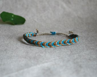 Friendship Bracelet / Mens Corded Bradelet / Macramé Bracelet / Bracelet in Mustard, Gray and Light Blue  / Fiber Jewelry